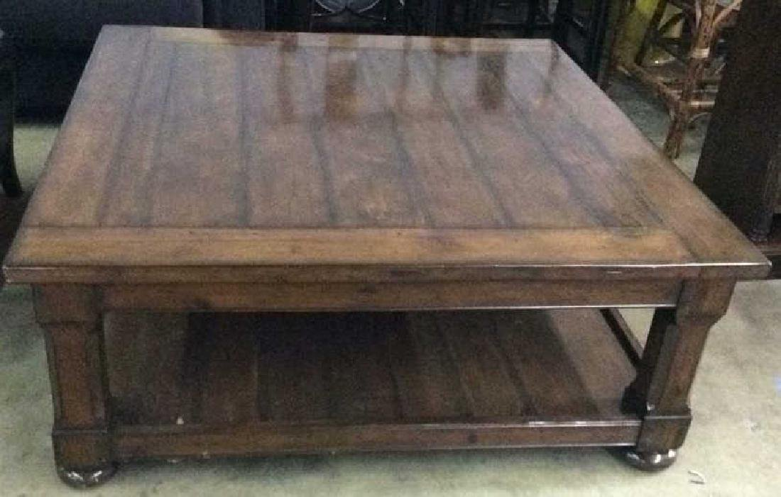 Planked Pine Wood 2 Tiered Coffee Table - 2