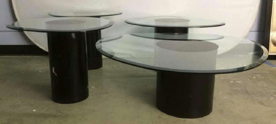 Set Mid Century Mod Glass Pedestal Table Cluster