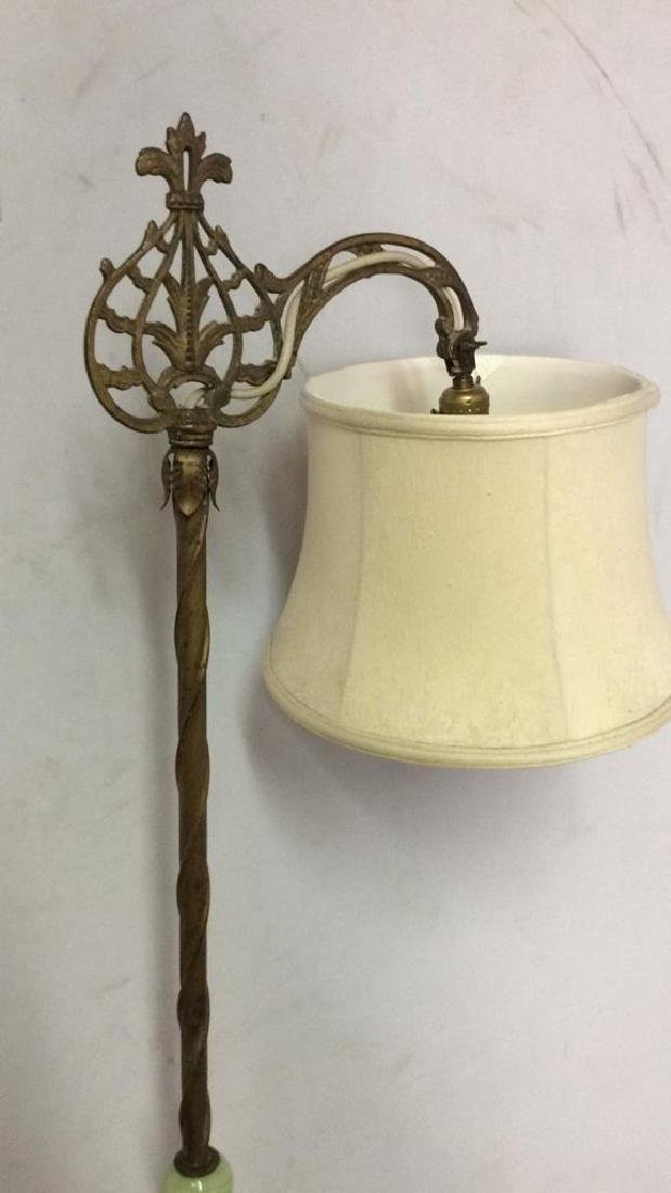Brass Toned Metal Lamp w Curling Filigree Detail - 2