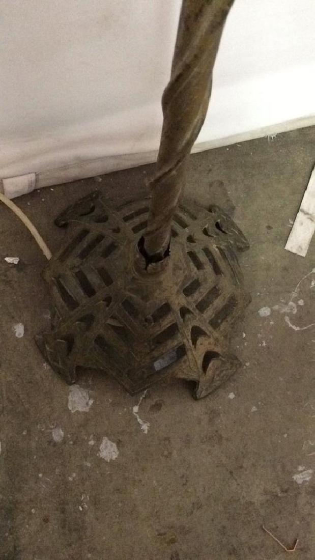 Brass Toned Metal Lamp w Curling Filigree Detail - 6