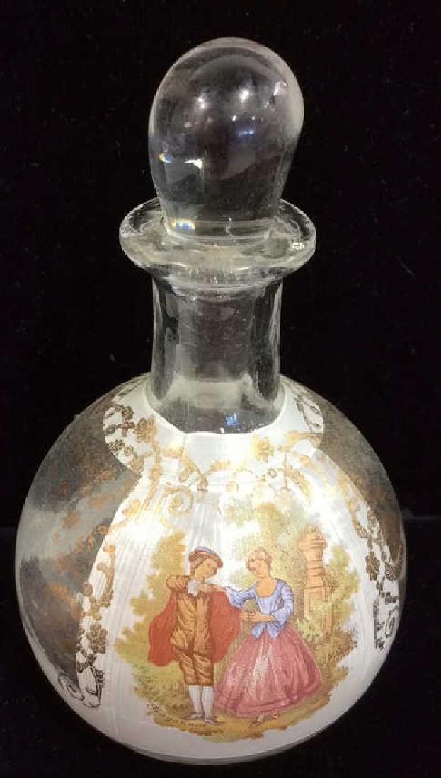 Glass Perfume Bottle W Walking Couple Painted