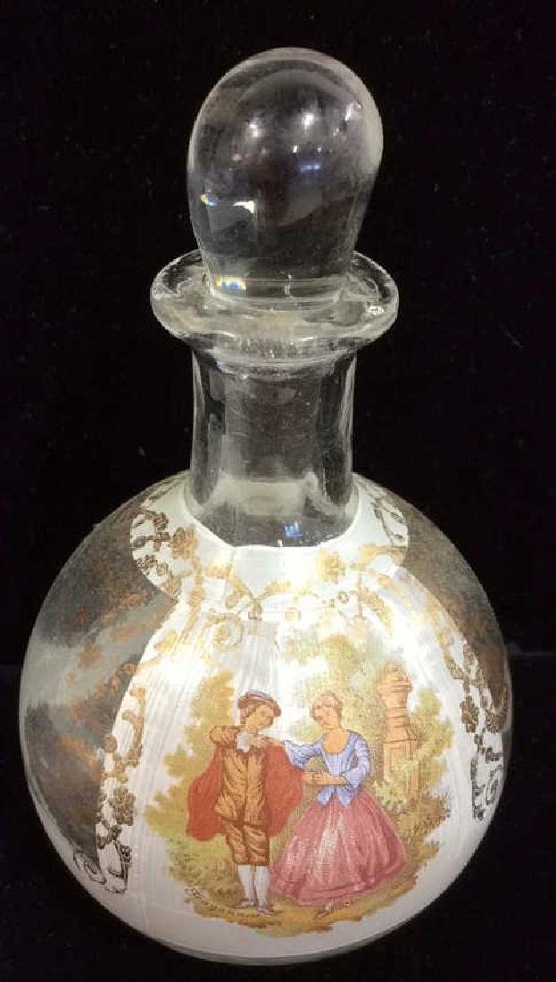 Glass Perfume Bottle W Walking Couple Painted