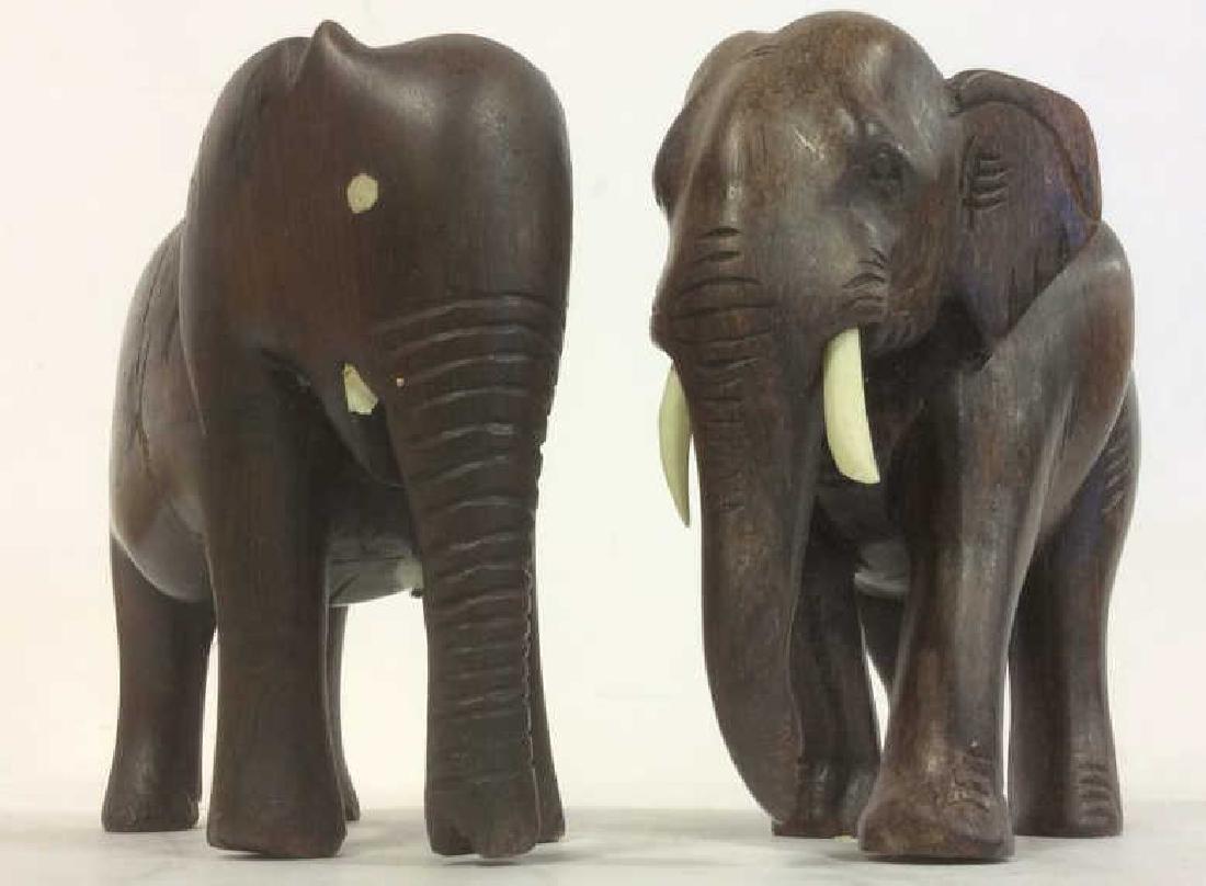 Lot 2 Carved Wooden Elephant Figures