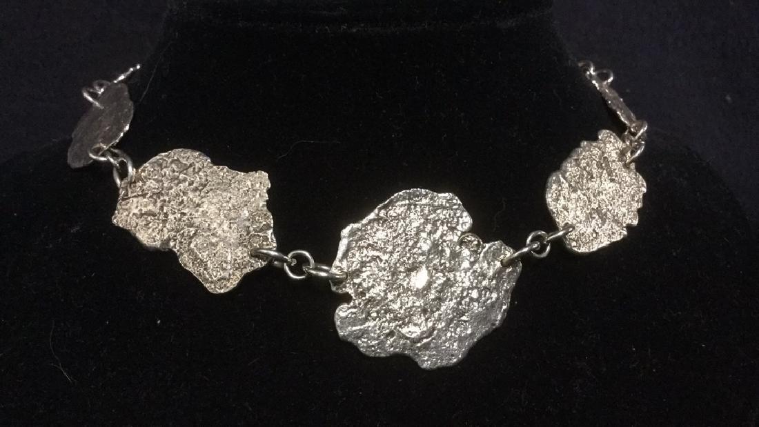 Brutalist Sterling Silver Necklace C 1960's - 3