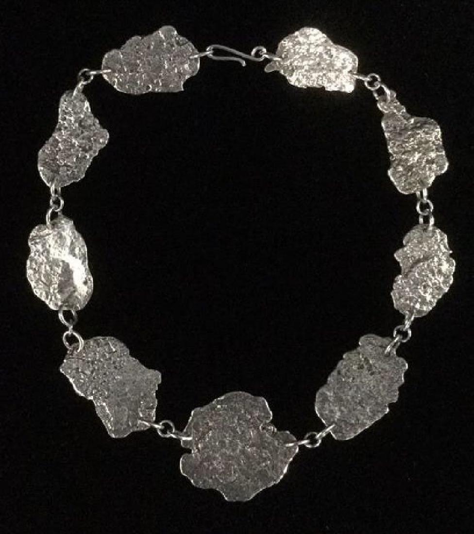 Brutalist Sterling Silver Necklace C 1960's - 5