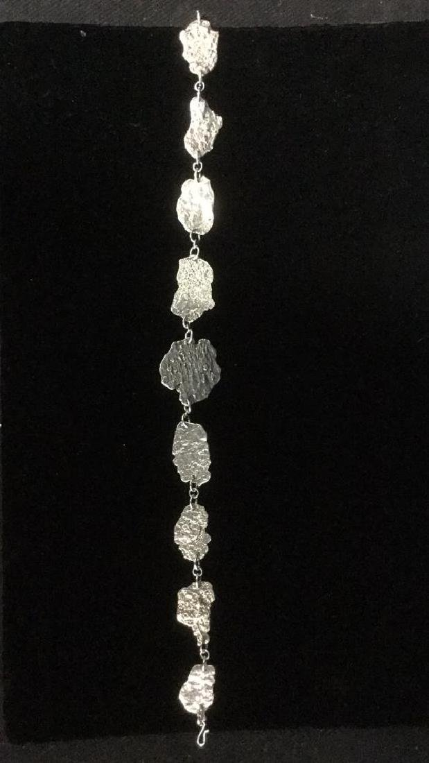 Brutalist Sterling Silver Necklace C 1960's - 9