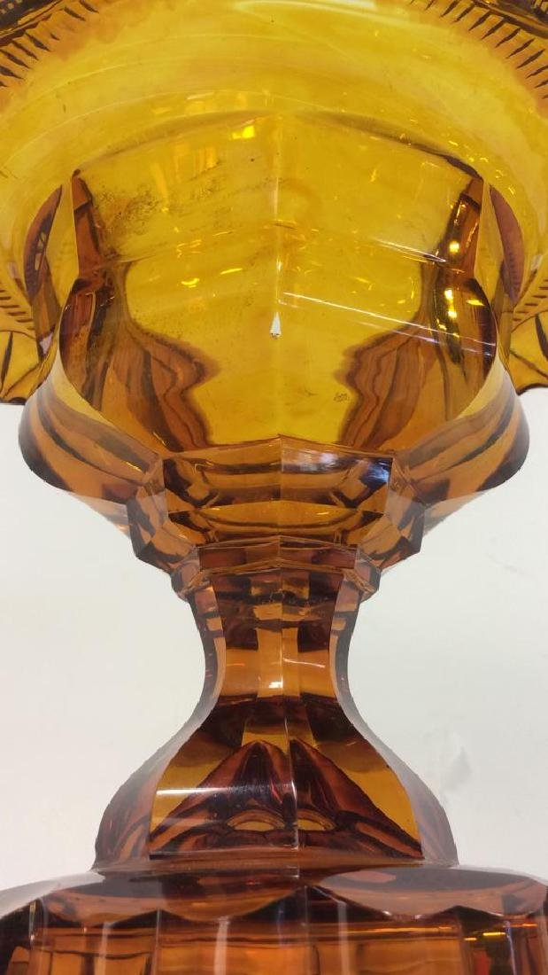 Vintage Amber Bohemian Cut Glass Pedestal Server - 7