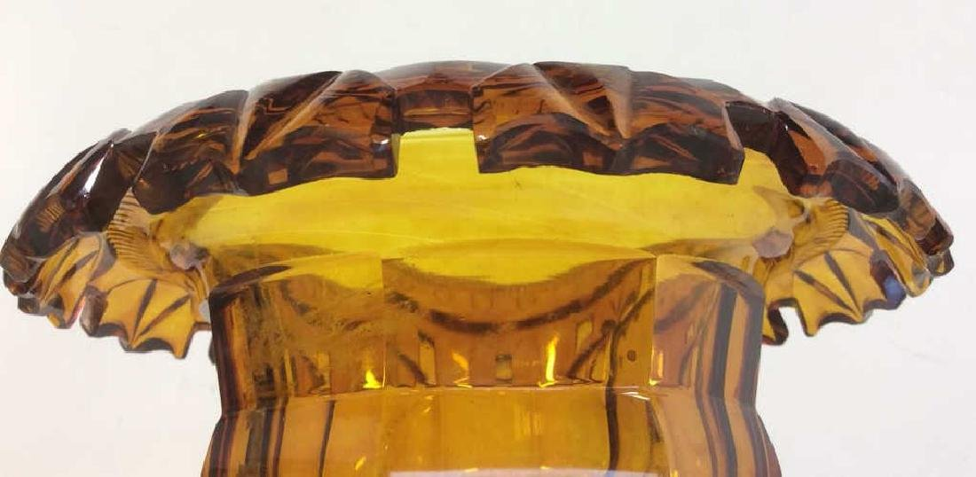 Vintage Amber Bohemian Cut Glass Pedestal Server - 8