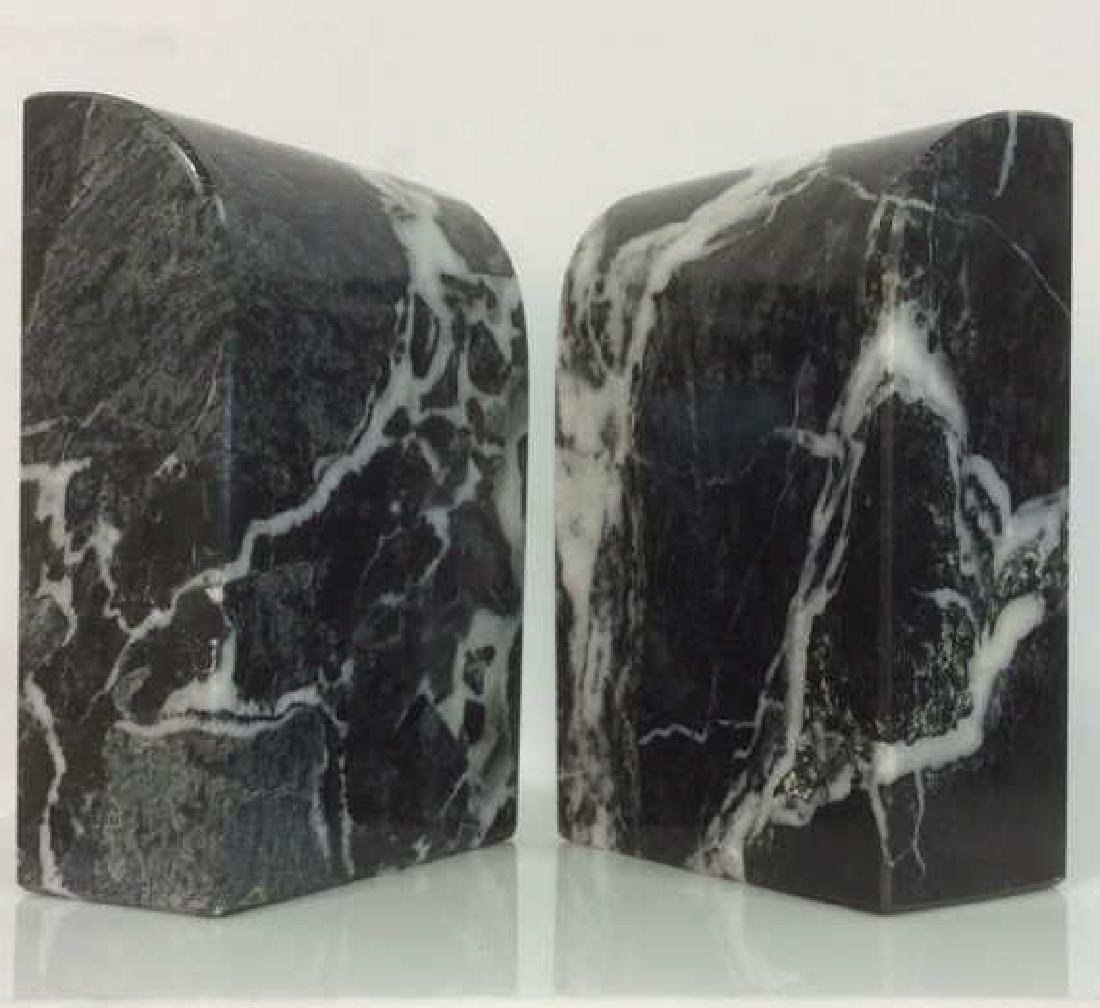 M Century Modern Italian Waterfall Marble Bookends