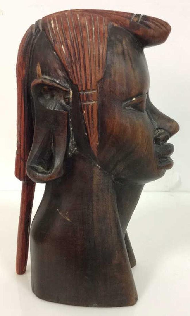 Carved Wooden Female Bust, Tribal Style