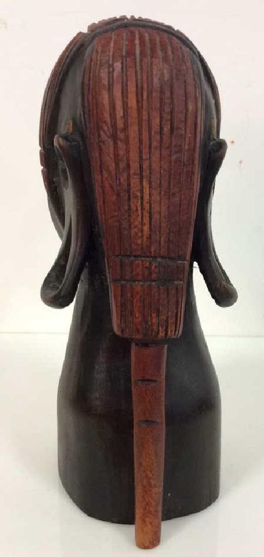 Carved Wooden Female Bust, Tribal Style - 3