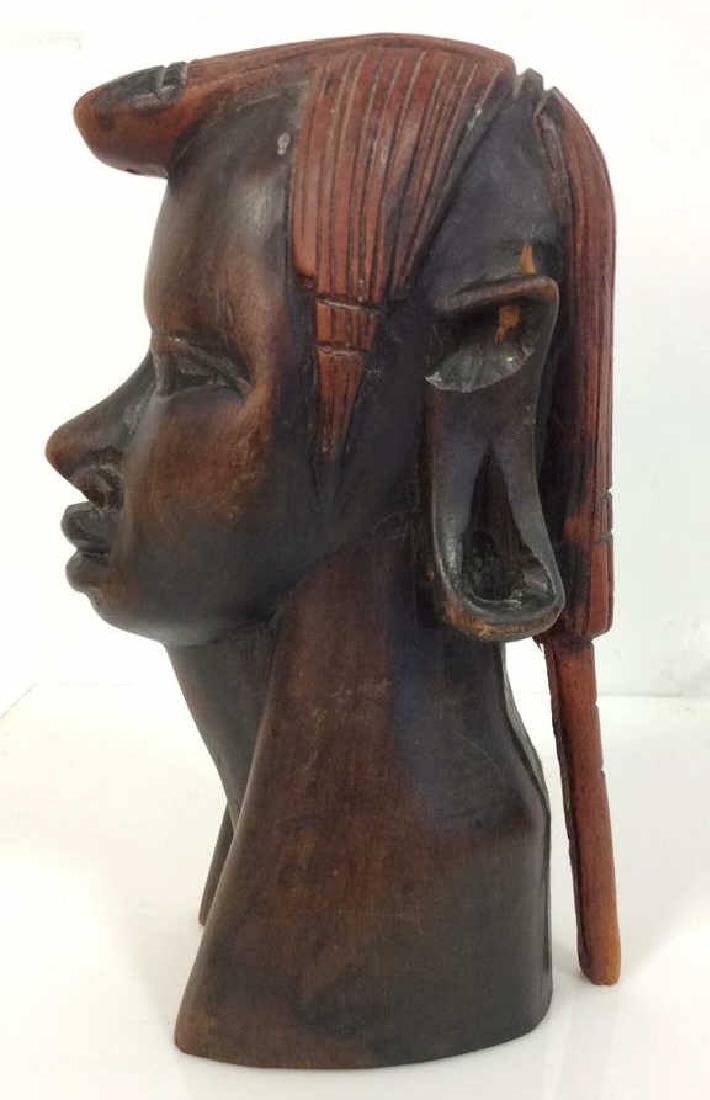 Carved Wooden Female Bust, Tribal Style - 4