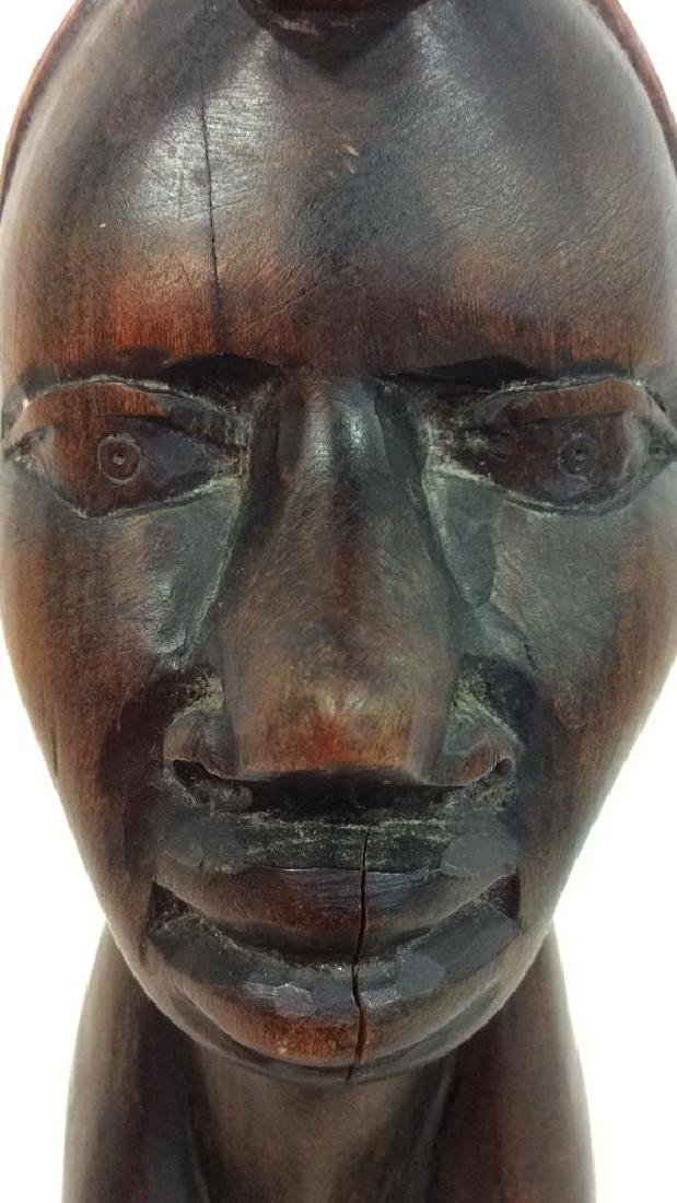 Carved Wooden Female Bust, Tribal Style - 5