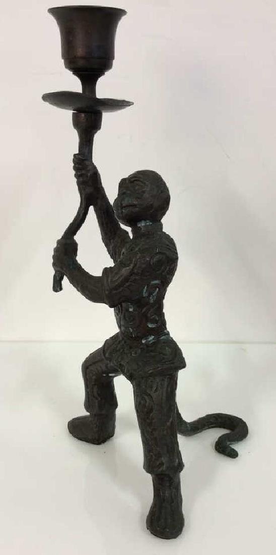Bronze Toned Metal Monkey Figural Candlestick