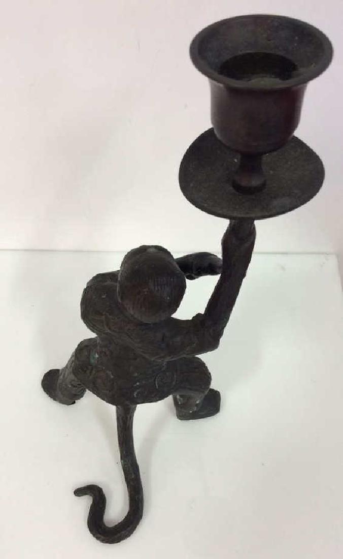 Bronze Toned Metal Monkey Figural Candlestick - 5