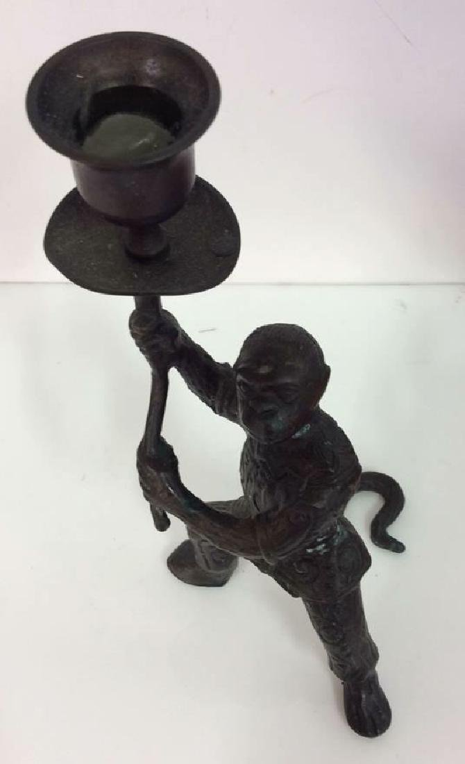 Bronze Toned Metal Monkey Figural Candlestick - 6