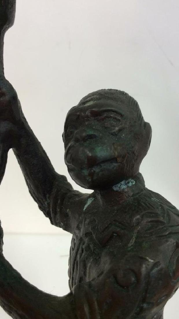 Bronze Toned Metal Monkey Figural Candlestick - 7