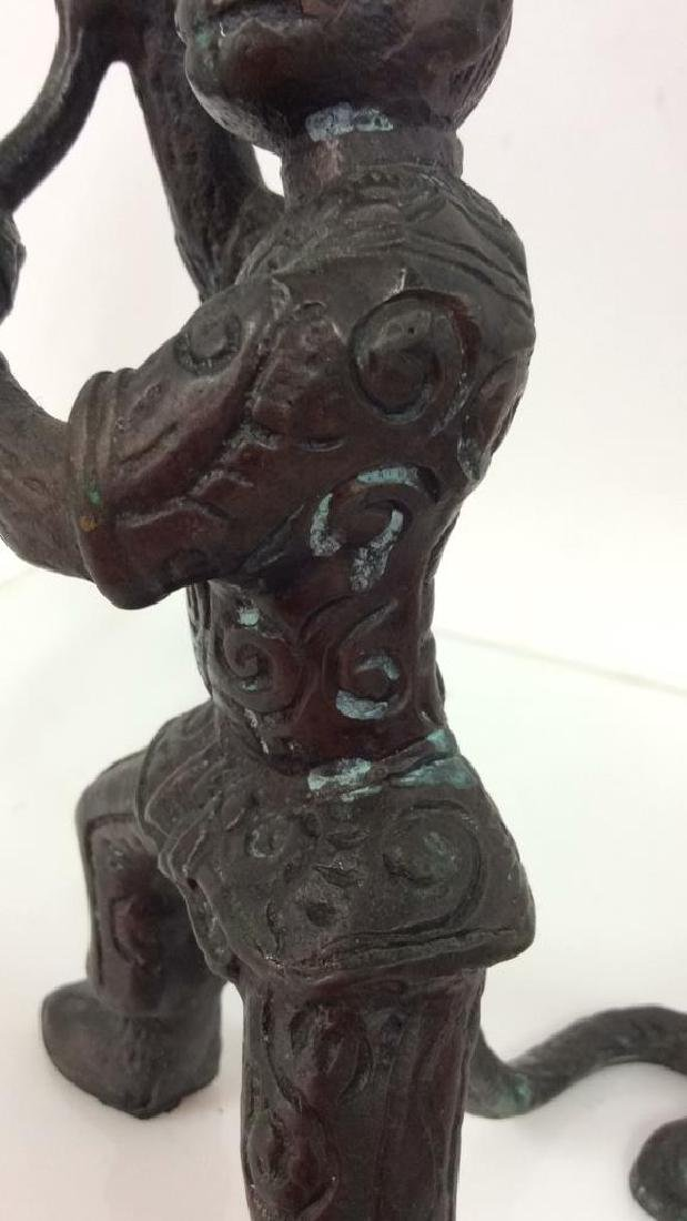 Bronze Toned Metal Monkey Figural Candlestick - 8