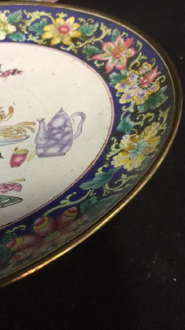 Lot 2 Antique Enameled Chinese Pedestal Cake Trays - 5
