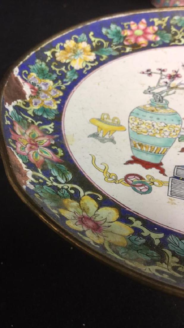 Lot 2 Antique Enameled Chinese Pedestal Cake Trays - 6