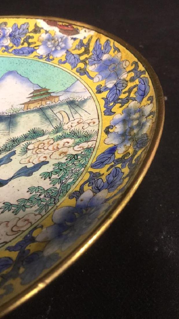 Lot 2 Antique Enameled Chinese Pedestal Cake Trays - 7