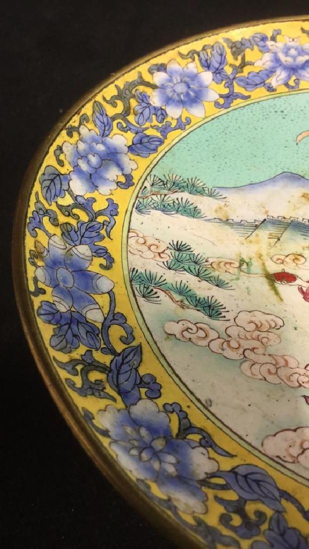 Lot 2 Antique Enameled Chinese Pedestal Cake Trays - 8