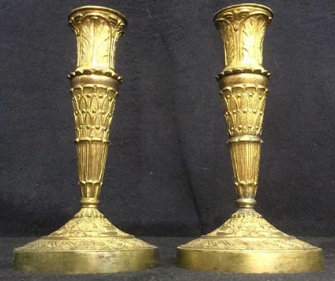 Pair Gold Toned Candle Sticks Holders