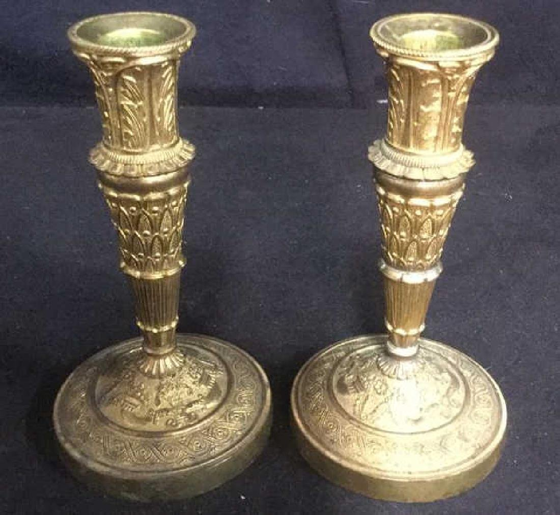 Pair Gold Toned Candle Sticks Holders - 7