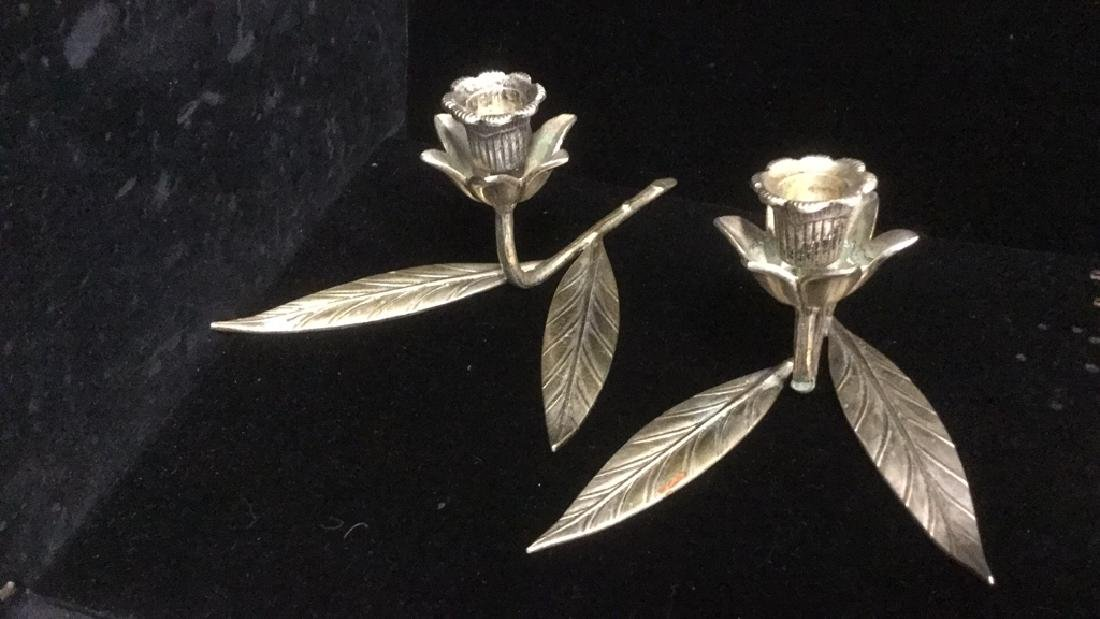 Lot 2 Brass And Silver Toned Tulip Candlesticks
