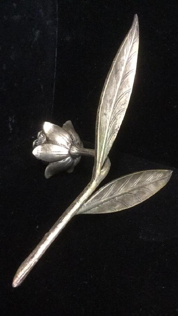 Lot 2 Brass And Silver Toned Tulip Candlesticks - 5
