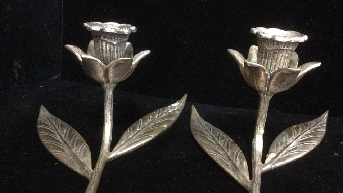 Lot 2 Brass And Silver Toned Tulip Candlesticks - 6