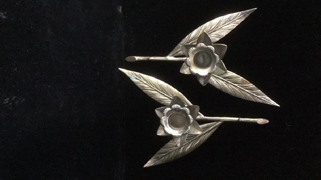 Lot 2 Brass And Silver Toned Tulip Candlesticks - 7
