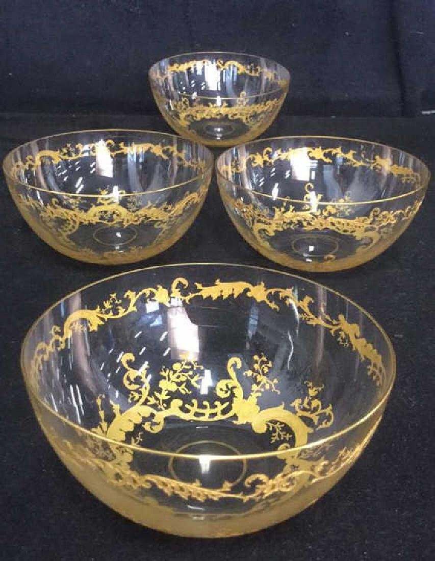 Lot 4 Etched Glass Bowls With Gold Toned Paint