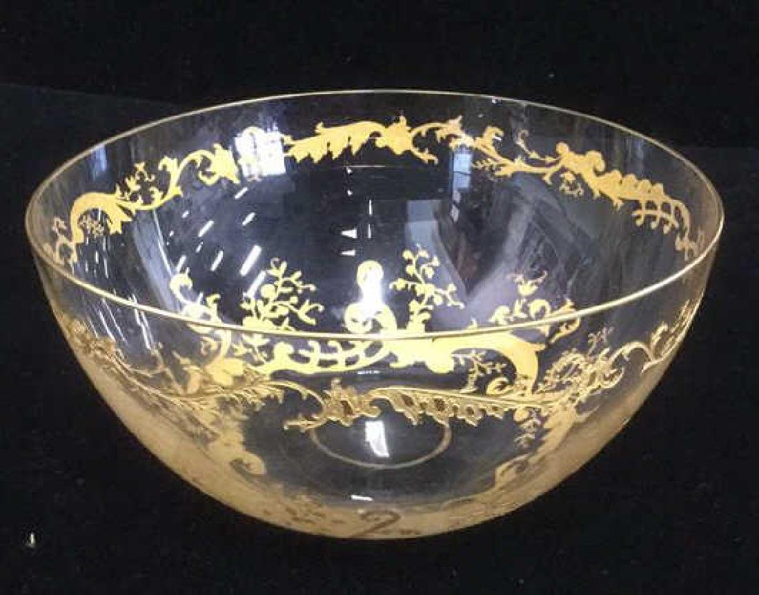 Lot 4 Etched Glass Bowls With Gold Toned Paint - 3