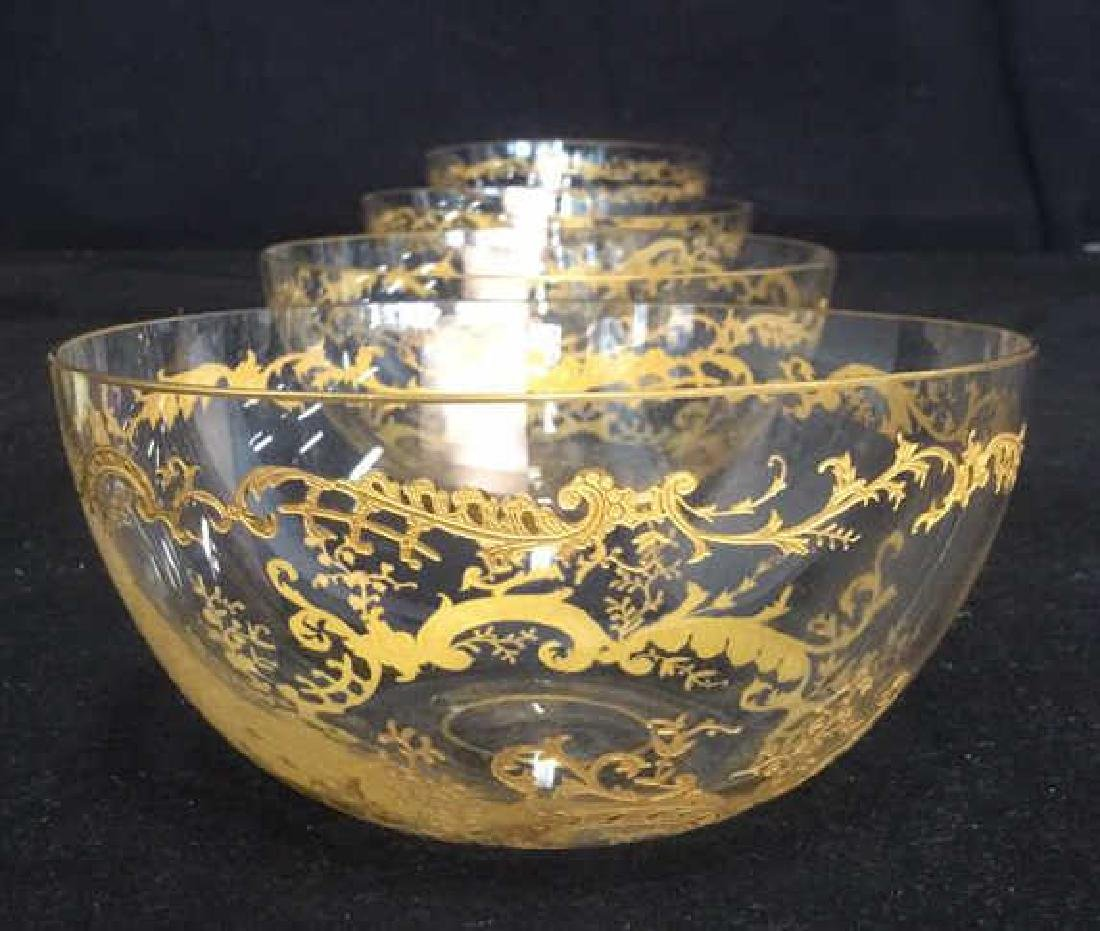 Lot 4 Etched Glass Bowls With Gold Toned Paint - 8