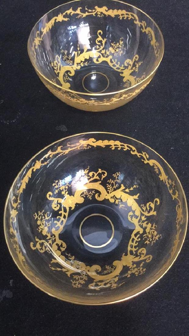 Lot 4 Etched Glass Bowls With Gold Toned Paint - 9