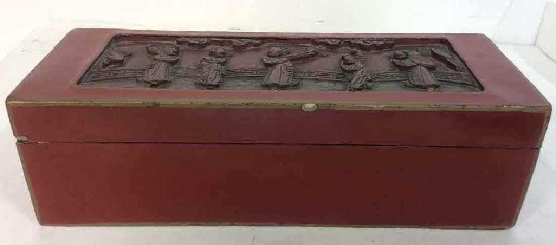 Asian Carved Red Toned Lacquered Trinket Box