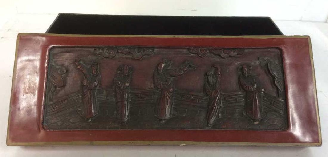 Asian Carved Red Toned Lacquered Trinket Box - 2