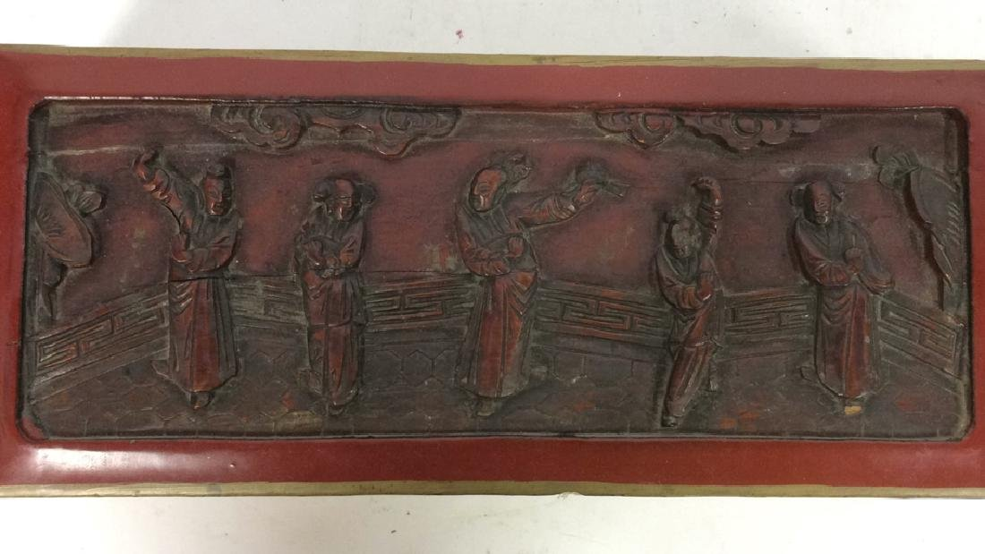 Asian Carved Red Toned Lacquered Trinket Box - 5