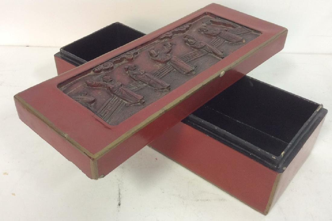 Asian Carved Red Toned Lacquered Trinket Box - 6