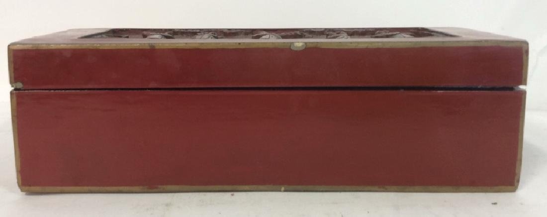 Asian Carved Red Toned Lacquered Trinket Box - 8