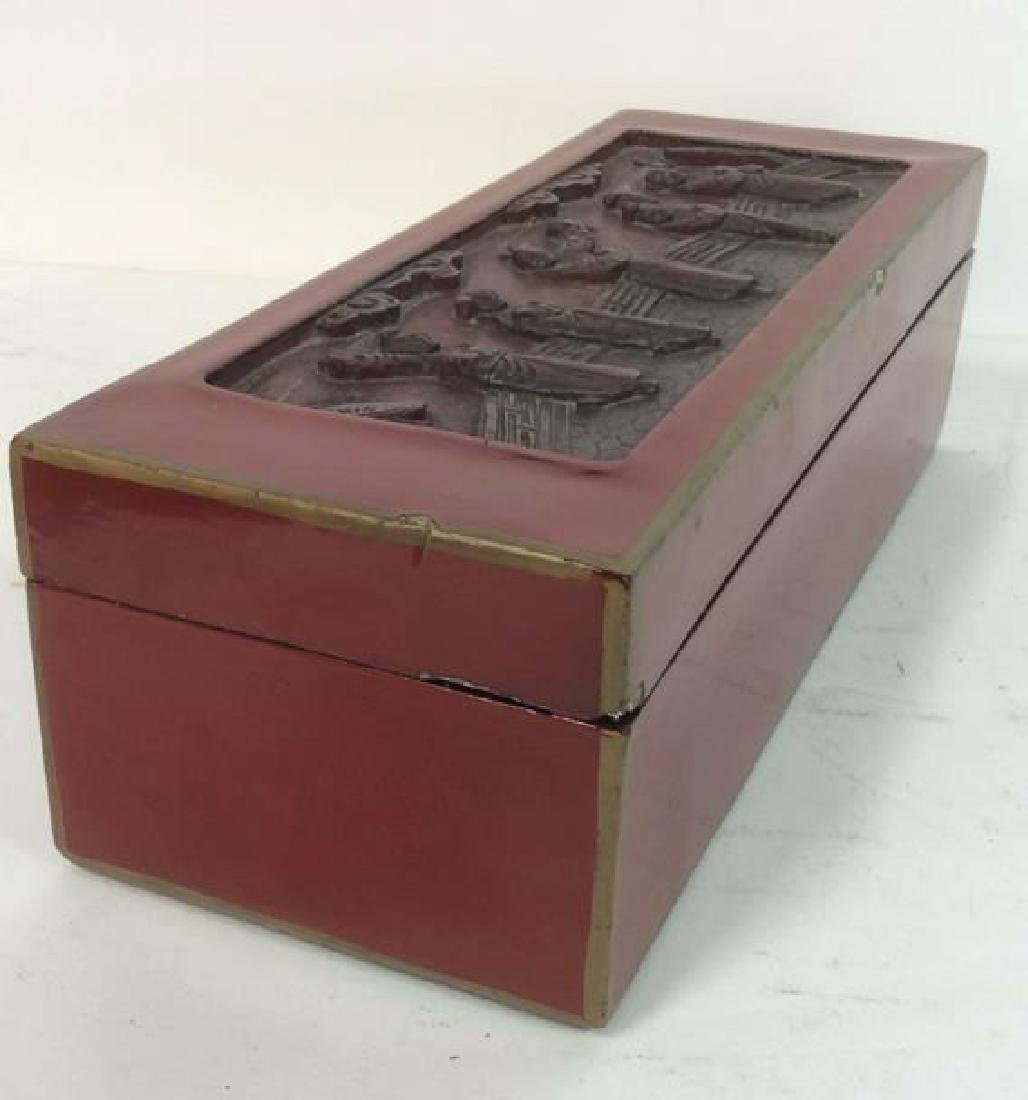 Asian Carved Red Toned Lacquered Trinket Box - 9