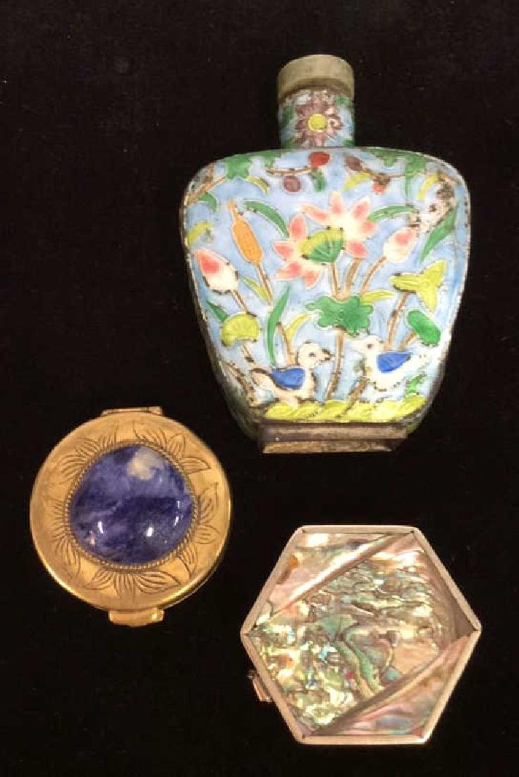 Lot 3 Vintage lid Trinket Boxes W Perfume Bottle