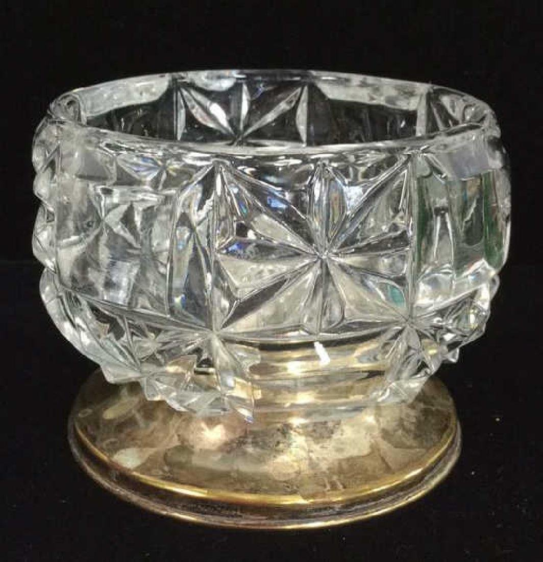 Cut Crystal Candy Bowl W Silver Plate Base