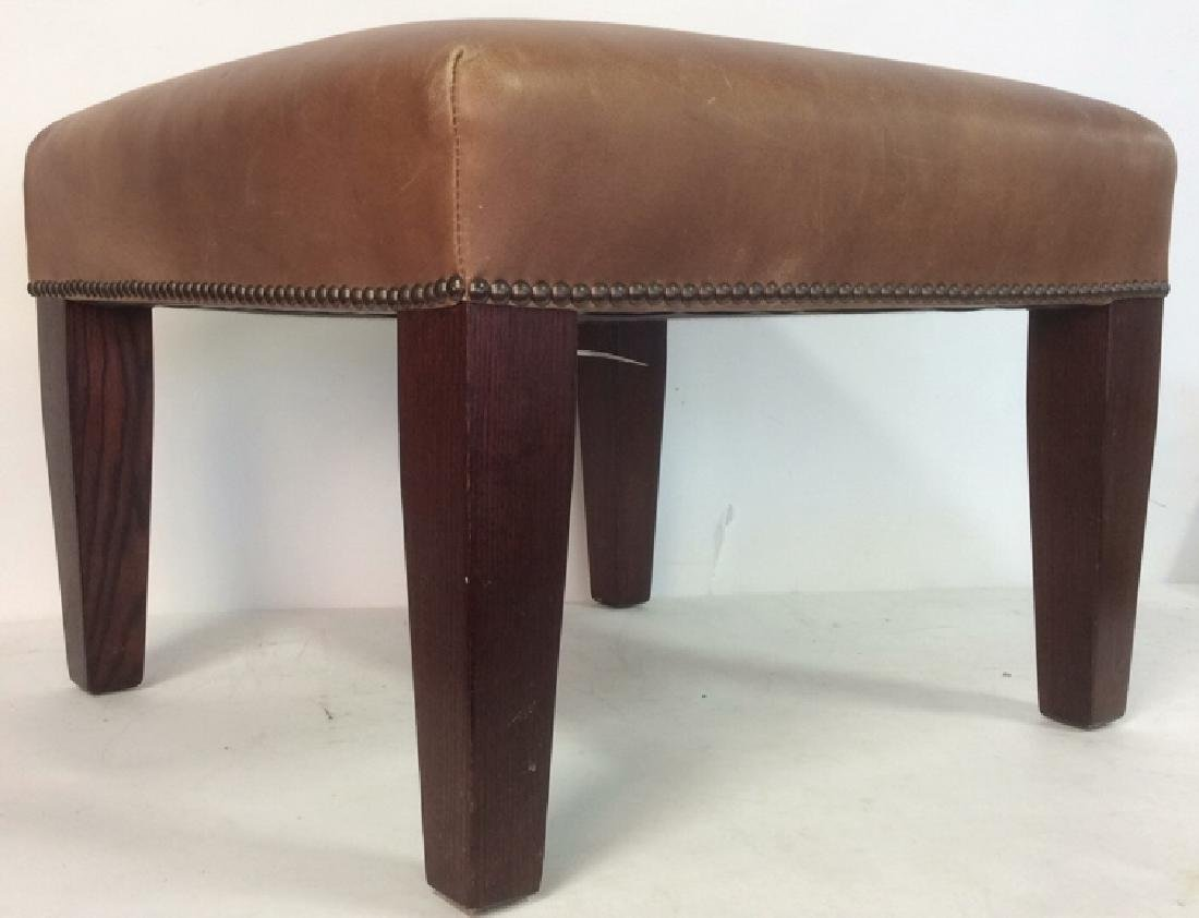GEORGE SMITH CHocolate Brown Leather Ottoman