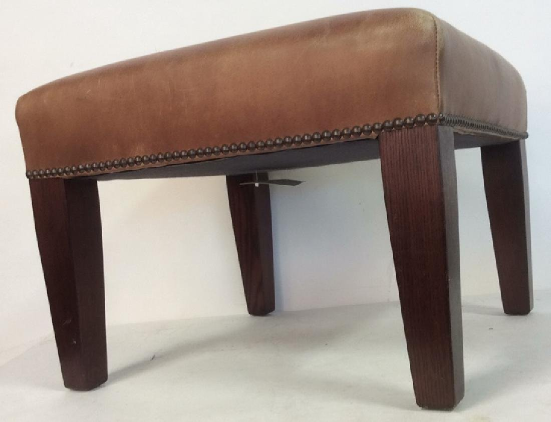 GEORGE SMITH CHocolate Brown Leather Ottoman - 2