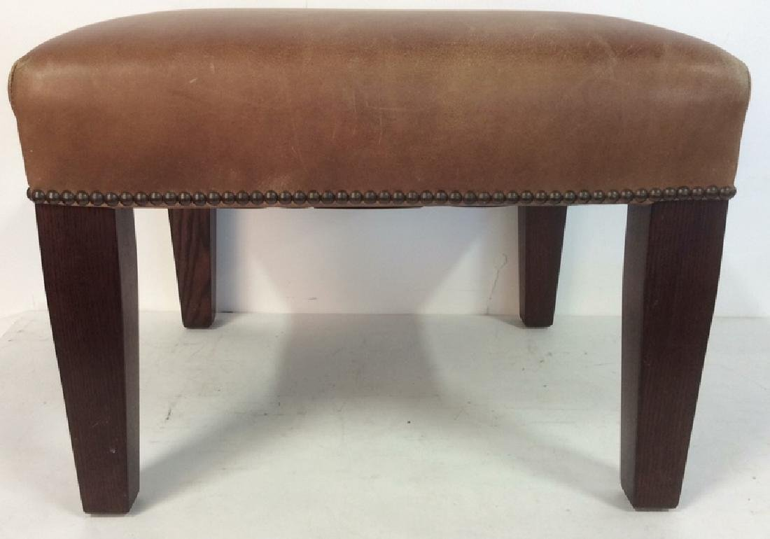 GEORGE SMITH CHocolate Brown Leather Ottoman - 3