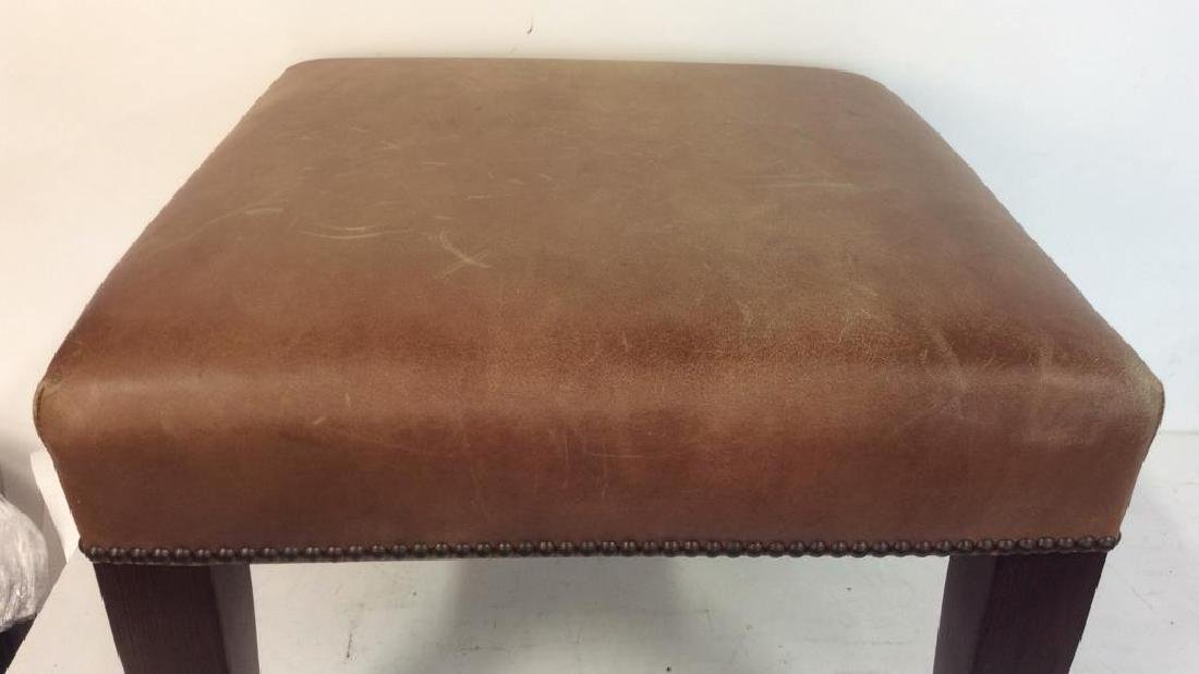 GEORGE SMITH CHocolate Brown Leather Ottoman - 6