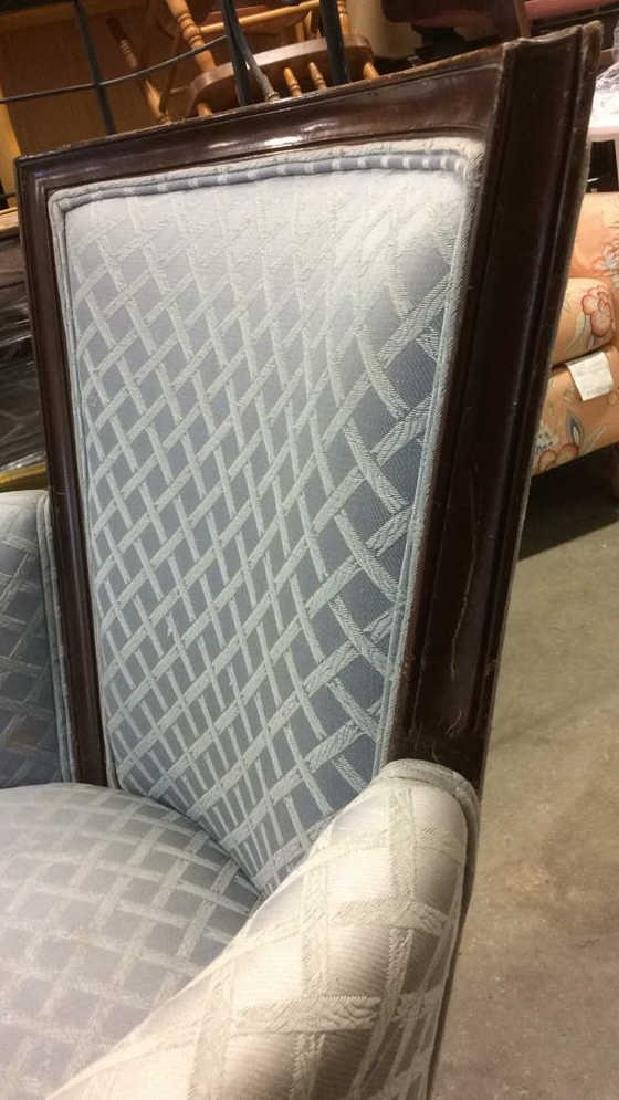 Vintage Wood Framed Upholstered Bergere Chair - 10