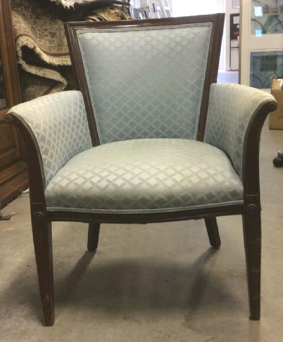 Vintage Wood Framed Upholstered Bergere Chair